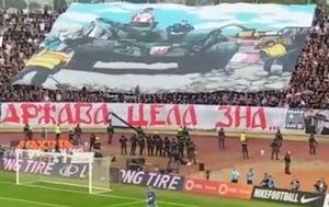 Navijači Partizana sprdali Delije zbog tenka (Screenshot)