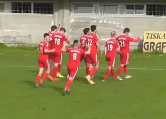 Igrači Orašja slave gol (Screenshot)
