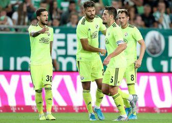 Slavlje igrača Dinama nakon Ademijeva pogotka Ferencvarošu (Foto: Slavko Midžor/PIXSELL)