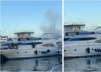 Gašenje požara na brodu u splitskoj ACI marini