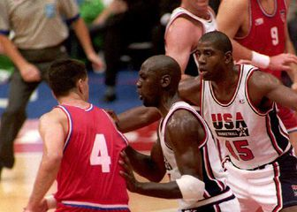 Dražen Petrović, Michael Jordan i Magic Johnson (Foto: AFP)