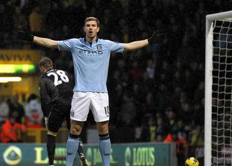 Edin Džeko slavi pogodak u dresu Manchester Cityja (Foto: AFP)