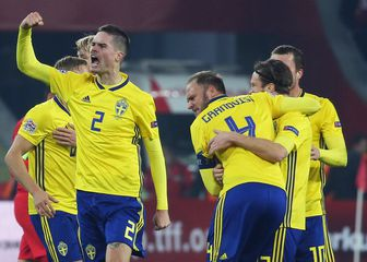 Šveđani slave pogodak (Foto: AFP)