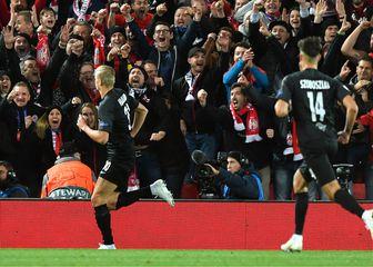 Haland slavi gol na Anfieldu (Foto: Anthony Devlin/Press Association/PIXSELL)