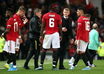 Solskjaer i igrači Manchester Uniteda (Foto: Richard Sellers/Press Association/PIXSELL)