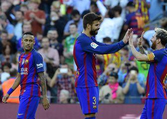 Neymar, Pique i Messi u trenucima sreće (Foto: AFP)
