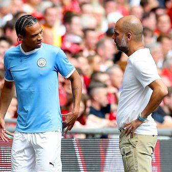 Leroy Sane i Pep Guardiola (Foto: Martin Rickett/Press Association/PIXSELL)