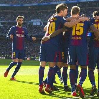 Slavlje Barcelone protiv Reala (Foto: AFP)