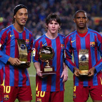 Ronaldinho, Messi i Eto\'o (Foto: AFP)