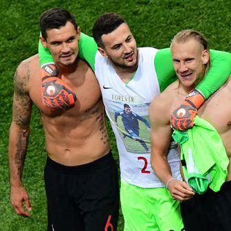 Slavlje hrvatskih nogometaša nakon pobjede protiv Argentine (Foto: AFP)