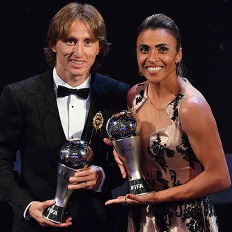 Luka Modrić i Marta, najbolji na svijetu (Foto: AFP)