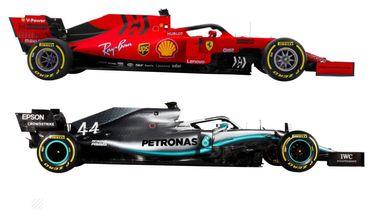 Ferrarijev i Mercedesov bolid za 2019. godinu (Screenshot: Formula 1)