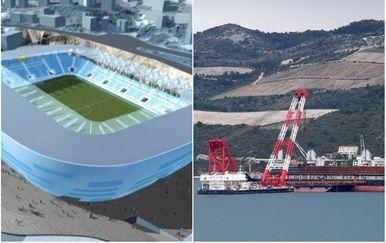 Stadion Kantrida i gradilište Pelješkog mosta (Foto: Dnevnik.hr/Ivo Cagalj/PIXSELL)