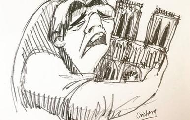 Crtež Quasimoda i katedrale Notre-Dame (Foto: @dibujosdecristina/Instagram)