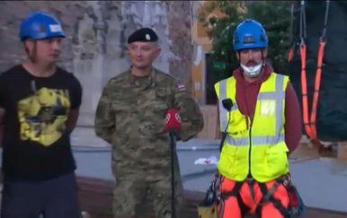 Ljudi koji su besprijekorno obavili operaciju uklanjanja vrha sjevernog tornja zagrebačke katedrale