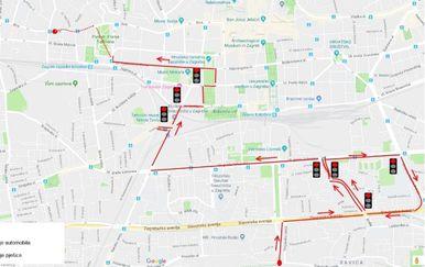 Mapa kretanja uhićenog muškarca (Foto: PUZ)