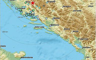 Potres u Dalmaciji (Foto: EMSC/Twitter)