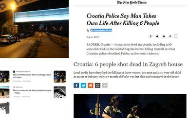 Strani mediji pišu o masakru na Kajzerici (Foto: Marin Tironi/PIXSELL/Screenshot)