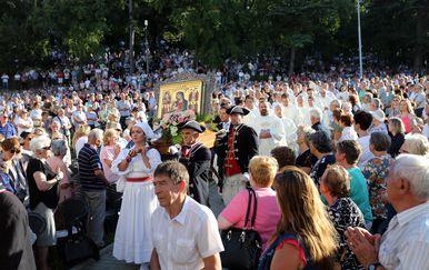 Svečana misa na blagdan Velike Gospe u Svetištu Majke Božje na Trsatu (Foto: Pixsell,Goran Kovačić)