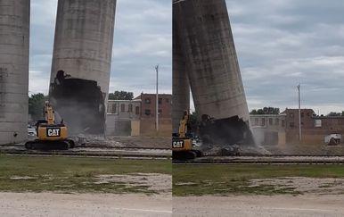 Rušenje silosa (Foto: Screenshot/YouTube)