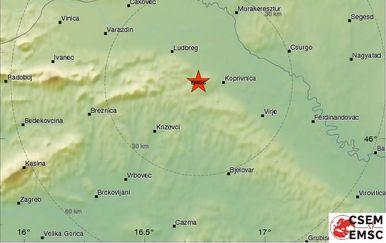 Potres kod Križevaca (Screenshot: EMSC)