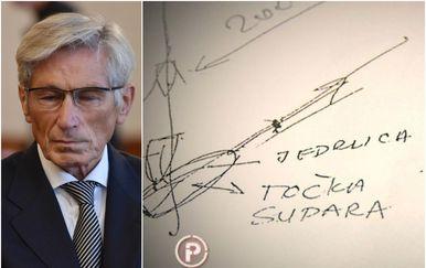 Tomislav Horvatinčić i njegova skica nesreće (Foto: Hrvoje Jelavic/Pixsell/Dnevnik.hr)