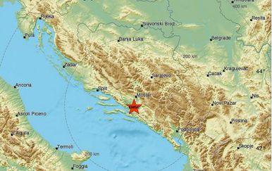 Potres nedaleko Mostara (Foto: www.emsc-csem.org)