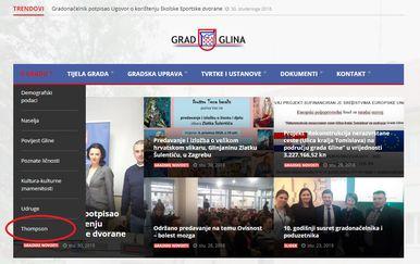 Službene stranice Grada Gline (Foto: screenshot)