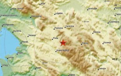 Potres u Sloveniji (Screenshot: EMSC)