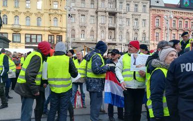 Prosvjed žutih prsluka u Zagrebu (Foto: Ivana Cerovac/Dnevnik.hr)