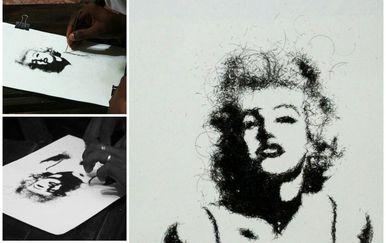 Mladi indijski umjetnik Midhun R.R. izrađuje živopisne slike od ljudske kose (Foto: Profimedia)