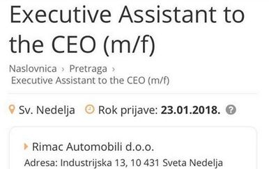Mate Rimac traži asistenta (Screenshot moj-posao.net)