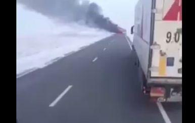 Zapalio se autobus u Kazahstanu (Foto: Screenshot)