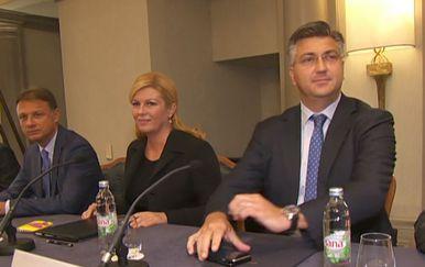 Predsjednica, premijer i predsjednik Sabora (Foto: Dnevnik Nove TV)