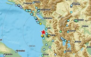 Potres u Tirani (Foto: Screenshot EMSC)