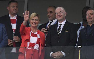 Predsjednica Kolinda Grabar-Kitarović u svečanoj loži na stadionu u Sočiju (Foto: AFP) - 3