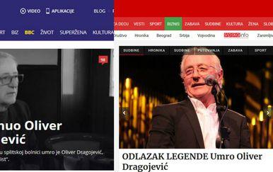 Regionalni mediji o smrti Olivera Dragojevića (Printscreen/B92/Blic)