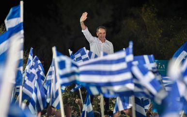 Skup potpore grčkoj stranci Nova demokracija (ND) koju vodi Kiriakos Micotakis (Foto: AFP)