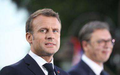 Francuski predsjednik Emmanuel Macron i predsjednik Srbije Aleksandar Vučić (Foto: AFP)