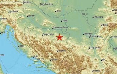 Potres kod Tuzle (Foto: EMSC)