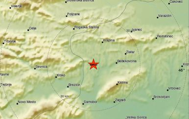 Potres kod Zaboka (Screenshot: EMSC)