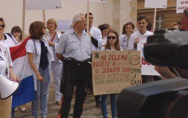Prosvjed liječnika na Markovu trgu (Foto: dnevnik.hr)