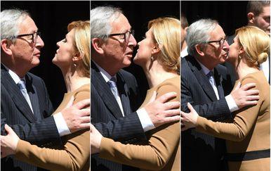 Srdačan pozdrav predsjednice Grabar-Kitarović i Junckera (Foto: Marko Lukunic/PIXSELL)