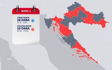 Model 1 školskih praznika u Hrvatskoj (Foto: Dnevnik.hr)