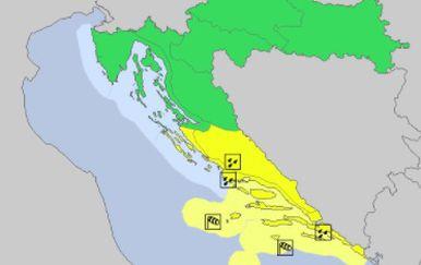 Veliki dio zemlje bez upozorenja (Foto: screenshot/DHMZ)