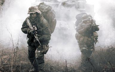 Vojnici u pratnji tenka, ilustracija