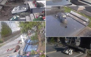 Devastacija groblja u Somboru (Foto: Screenshot/Franja Bošnjak)