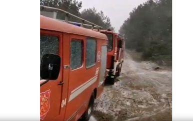 Vatrgoasci gase požar kod Sutina (Foto: Screenshot Dalmacija danas)