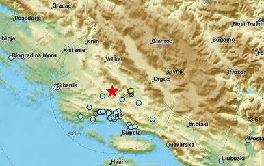 Jak potres kod Sinja (Foto: EMSC)