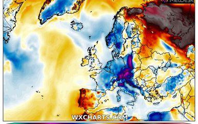 Ekstremne vrućine u Rusiji izmjerene u nedjelju (Foto: wxcharts.com)